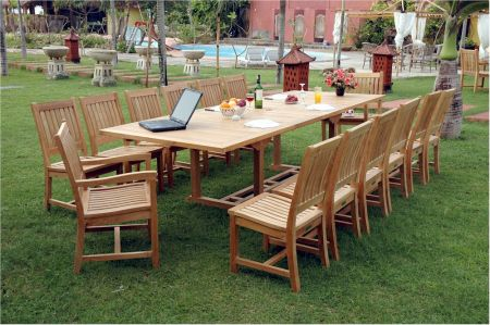 Anderson 15 Piece Valencia Double Extension Teak Dining at Teakwood Central